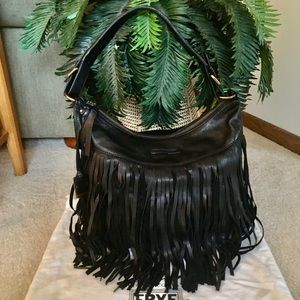 NWT -Black Frye Heidi Fringe Hobo Bag